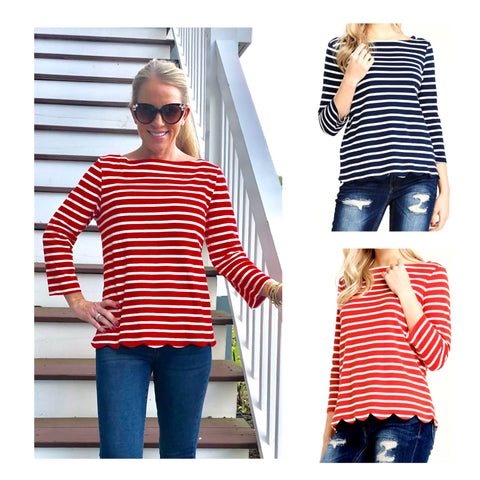Red or Navy Striped Scalloped Hem 3/4 Sleeve Boatneck Top