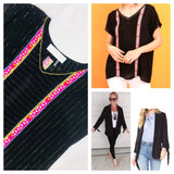 Black & Metallic Gold Pinstripe V-Neck Blouse with Double Hot Pink Abstract Embroidery