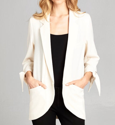 Vanilla 3/4 Sleeve Open Boyfriend Blazer with TIE SLEEVES 😍