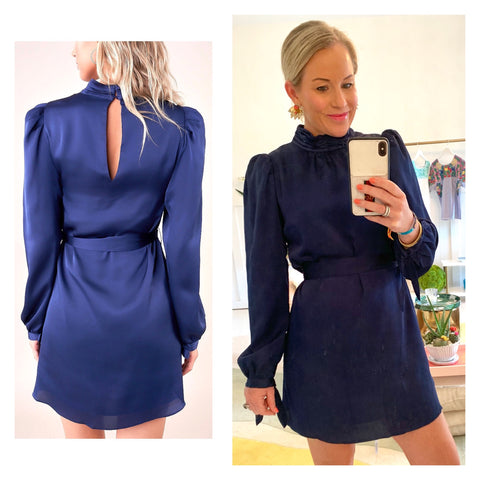 Navy Satin Mock Neck A-Line Belted Dress with Keyhole Back & Bow Tie Sleeves