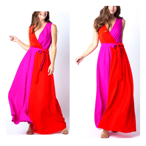 Red & Fuchsia Colorblock Maxi Dress with Self Tie Belt