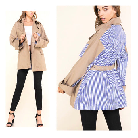 Camel Lightweight Belted Trench Coat with Blue White Pinstripe Shirttail Contrast