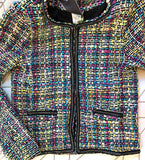 Black Multi Tweed Jacket with Chain Link Hem Detail