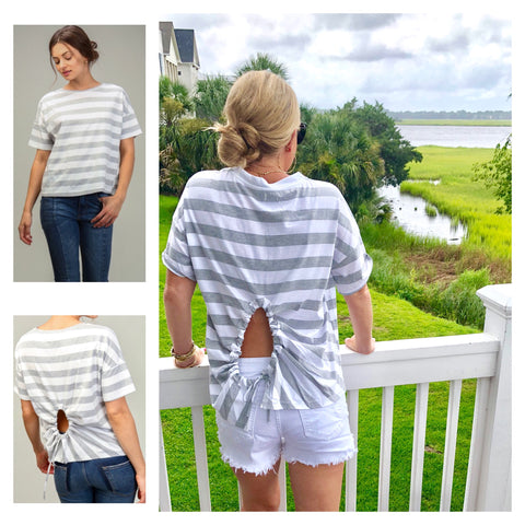 Grey Stripe Short Sleeve Tee with Self Tie Open Circle Back