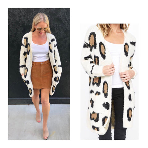 Ivory Leopard Print Open Front Fuzzy Cardigan with Pockets