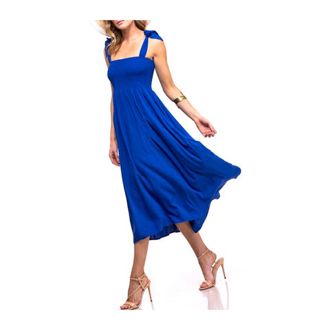 Royal Blue Smocked A-Line Midi Dress with Shoulder Ties