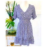 Bright Blue Magenta & White Floral Smocked Waist Dress with Shirred Ruffle Sleeves