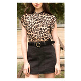 Leopard Print Short Sleeve Mock Ruffle Neck Top with Keyhole Back