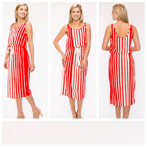 Red Ivory Stripe Sleeveless Midi Dress with Waist Tie
