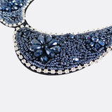 Navy Blue Beaded Faux Collar Necklace