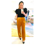 Desert Gold Velvet Wide Leg Pants