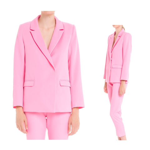 Bubblegum Pink Peaked Collar Blazer (Matching Cigarette Pants Sold Separately)