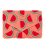 Parrot or Watermelon Beaded Clutches with Detachable Chain