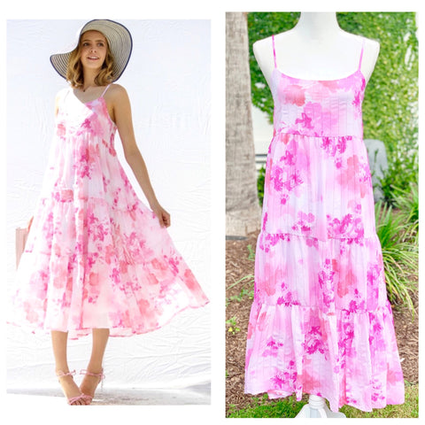 Pink & White Floral Midi Dress with Smocked Back & Tiered Ruffle Hem