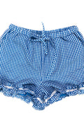 Blue White Gingham Shorts with Ruffle Hem & Drawstring Waist & Pockets