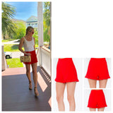 Tomato Red Eyelet Shorts with Back Zip and Flutter Hem