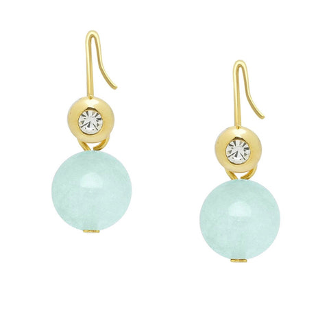 Aqua Round Stone and Gold CZ Earrings