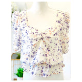 Ivory Lavender & Coral Floral Print Ruched Puff Sleeve Top with Open Back