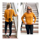 Mustard French Terry Top with Split Back & Black Ribbon Tie