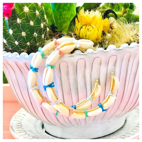 Puka Shell Hoops with Multicolor Tie Accents