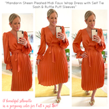Mandarin Sheen Pleated Midi Faux Wrap Dress with Self Tie Sash & Ruffle Puff Sleeves