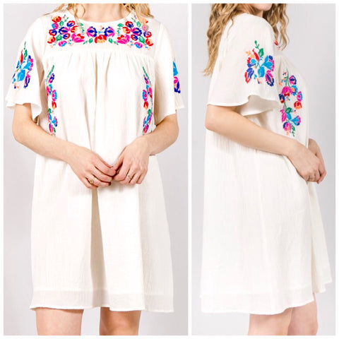 Off White Embroidered Floral Short Sleeve Shift Dress with Pleated Back