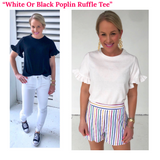 Black or White Tee with Poplin Ruffle Sleeves