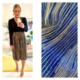Blue & METALLIC Lurex Crinkle Pleat Elastic Waist Midi Skirt