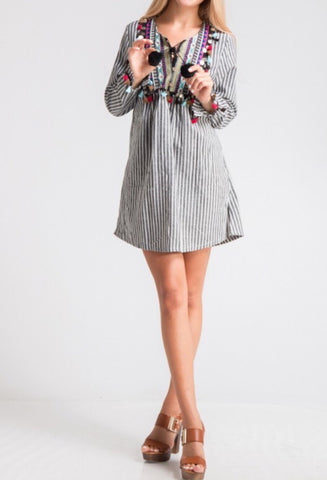 Colorful Tassel Detail Stripe Dress, Black/White Stripe