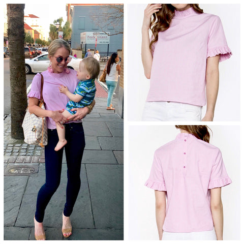 Baby Pink Short Sleeve High Neck Ruffle Top with Button Back Closure