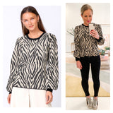 Taupe & Black Zebra Print Balloon Sleeve Sweater