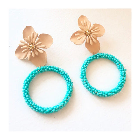 Turquoise Beaded Circle with Natural Flower Earrings