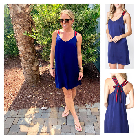 Mediterranean Blue Shift Dress with Red Blue Contrast Ribbon Straps & Bow Back