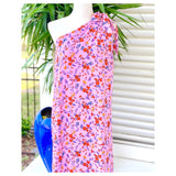 Pink Orange Yellow & Teal Garden Floral Limited Edition One Shoulder Maxi Dress with Shoulder Bow