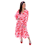 Pink & Red Floral Tiered Ruffle Hem Dress with Belt Sash & Ruffle Sleeves