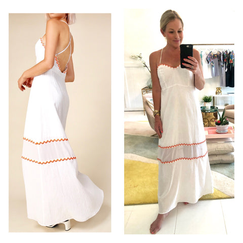White Linen Open Back Banded Waist Maxi Dress with White, Pink, Yellow & Orange Woven Rainbow Stripe Embroidered RicRac Trim