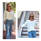 Ivory Knit V-Neck 3/4 Sleeve Sweater with Lace Up Sides