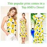 Lemon Print Textured Peplum Halter Top