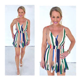 Multicolor Stripe Double Layer Romper with Pleated Inserts & Smocked Waist