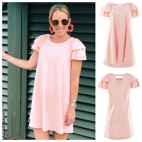 Light Peach Flutter Sleeve TShirt Dress with Keyhole Back