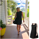 Black Knit Bamboo Sleeveless T-Shirt Dress with Ruffle Shoulder Hem & Keyhole Back with Tie