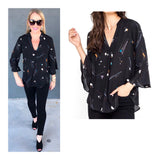 Black Abstract Bell Sleeve High Low Hem V-Neck Blouse