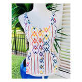 White Linen Multicolor Diamond & Stripe Button Down Peplum Top with Smocked Self Tie Back