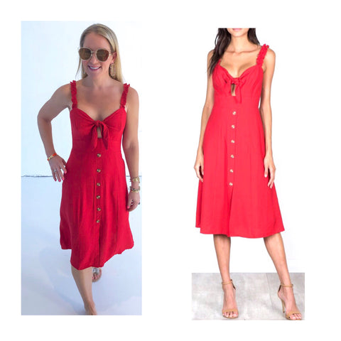 Poppy Red A-Line Midi Dress with Ruched Ruffle Straps & Self Tie Bust + Button Detail