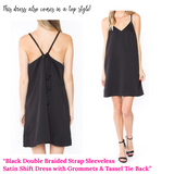 Black Sleeveless Shift Dress with Grommets & Tassel Tie Back