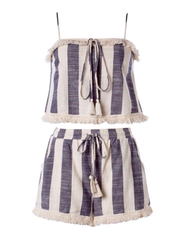 Navy Cream Wide Stripe with Fringe Hem & Tassel Ties Matching Set (sold together)