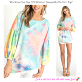 Rainbow Tye Dye 3/4 Balloon Sleeve Ruffle Trim Top