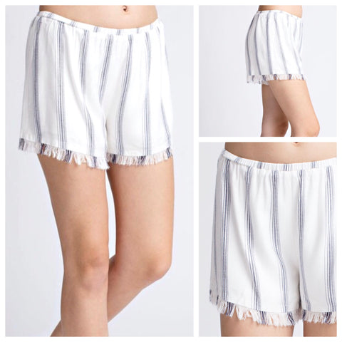 Ivory & Blue Stripe Fringe Hem Shorts