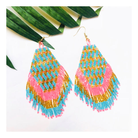 Turquoise Pink & Gold Beaded Earrings