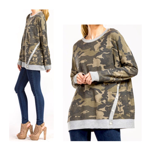 Camo Sweatshirt with Asymmetrical Buttons & Grey Banded Contrast